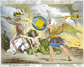 Edward Thurlow, 1st Baron Thurlow - In Sin, Death, and the Devil (1792), James Gillray caricatured the political battle between Pitt (Death) and Thurlow (Satan), with Queen Charlotte (Sin) in the middle, protecting Pitt.