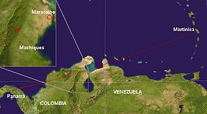 West Caribbean Airways Flight 708 - Crash location and intended route.
