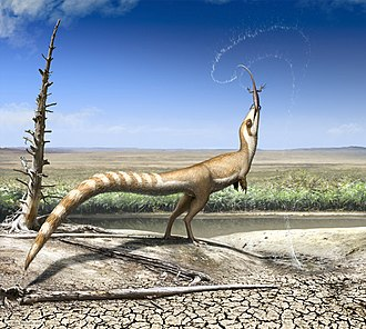 Robert Nicholls (artist) - Restoration of Sinosauropteryx preying on Dalinghosaurus, by Bob Nicholls