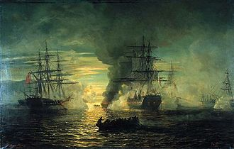 Battle of Port Louis - Algoa Bay, 20–21 September 1799. French frigate Preneuse against HMS Camel and the privateer Surprise