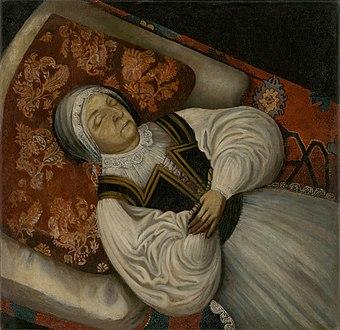 Slovenský maliar z 3. tretiny 17. storočia - Posmrtný portrét K. Horvath-Stansithovej, rod. Kissovej - O 4842 - Slovak National Gallery.jpg