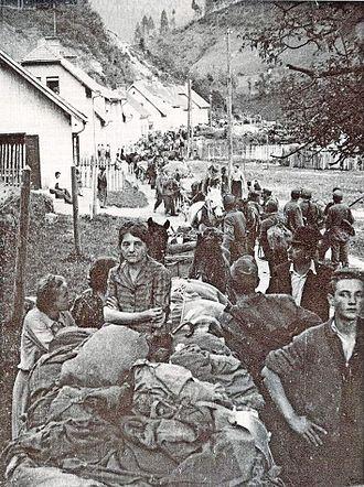 Bleiburg repatriations - Slovene Home Guards and civilians on the Tržič-Ljubelj road near Austria