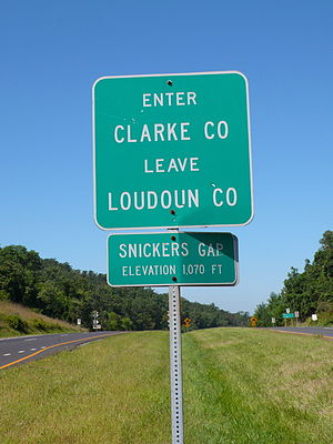 Virginia State Route 7 - Snickers Gap, where SR 7 leaves Loudoun County and enters Clarke County; the route peaks here before descending into the Shenandoah Valley