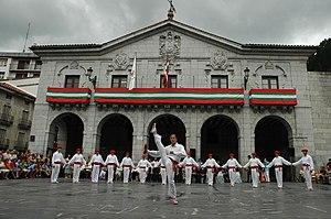 Elgoibar - Local Traditional folk dance members and Elgoibar City Hall