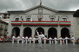 Elgoibar - Local Traditional folk dance members and Elgoibar City Hall