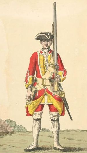 35th (Royal Sussex) Regiment of Foot - Soldier of 35th regiment, 1742