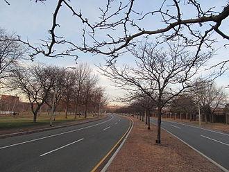 Soldiers Field Road - Looking eastbound in the Allston neighborhood