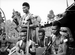 1st New Guinea Infantry Battalion - Troops from the 1st New Guinea Infantry Battalion on a transport ship in November 1944