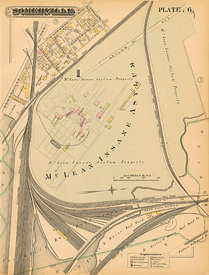 Jones Very - Map of the original location of McLean Insane Asylum from an 1884 atlas of Somerville, Massachusetts