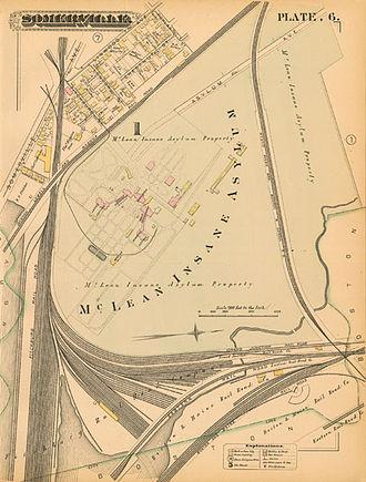 Jones Very - Map of the original location of McLean Insane Asylum from an 1884 atlas of Somerville, Massachusetts