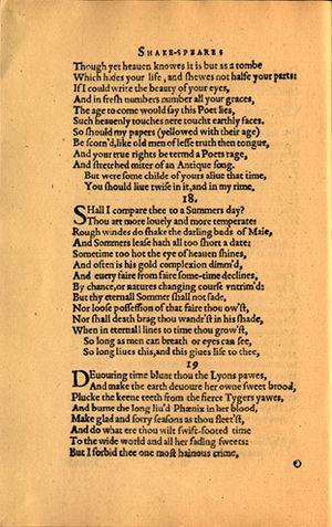 Extended metaphor - Original printing of Sonnet 18