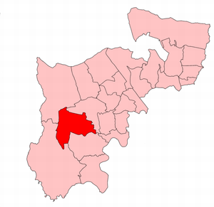 Southall (UK Parliament constituency) - Southall within the parliamentary county of Middlesex, boundaries used 1945-50