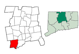 National Register of Historic Places listings in Southington, Connecticut - Location of Southington in Connecticut