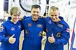 Soyuz MS-11 crew at the Gagarin Cosmonaut Training Center in Star City.jpg
