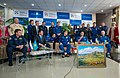 Soyuz TMA-08M welcome ceremony at the Karaganda Airport.jpg