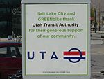 Sponsor sign at GREENbike UTA Salt Lake Central Station, Apr 15.jpg