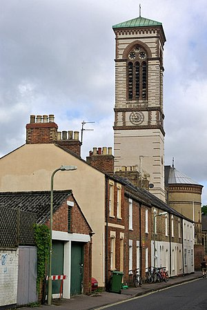 Canal Street, Oxford - View of the campanile of St Barnabas Church from the south along Canal Street.