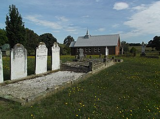 Hobbys Yards, New South Wales - St Peters Uniting Church and graveyard in summer 2017, from the South