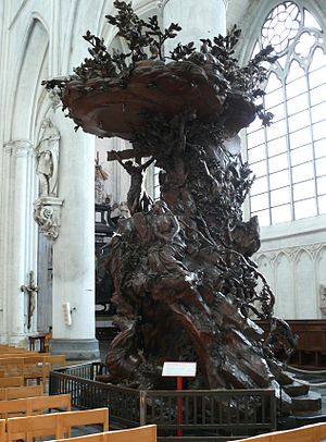 Theodoor Verhaegen - Carved oak pulpit in Mechelen cathedral.