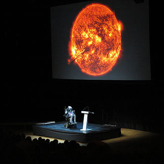Stephen Hawking - Hawking holding a public lecture at the Stockholm Waterfront congress centre, 24 August 2015