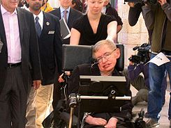 Stephen Hawking on his way to a lecture before highschool students in Jerusalem 10-12-2006.jpg