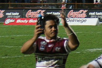 Steve Matai - Steve Matai celebrating victory for the Manly Sea Eagles