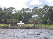Riverfront view of Stockton Park