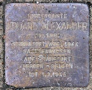 Eduard Alexander - Stolperstein in front of Alexander's former home, Cimbernstraße 13, in Berlin-Nikolassee