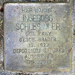 Photo of Ingeborg Ellen Schlesinger brass plaque