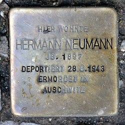 Photo of Hermann Neumann brass plaque