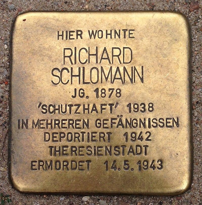 Stolperstein Malchow Lange Straße 43 Richard Schlomann