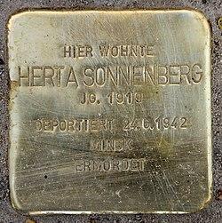 Photo of Herta Sonnenberg brass plaque
