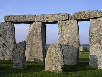 Lynne Kelly (science writer) - Inside Stonehenge, facing northeast, April 2005