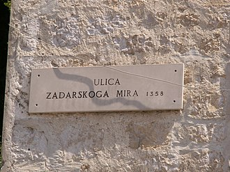 Treaty of Zadar - Peace of Zadar 1358 Street.