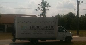 Charity shop - Truck used by the Suncoast Humane Society Thrift Store to collect donations in Port Charlotte, Florida.