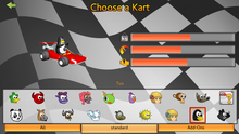SuperTuxKart kart selection screen