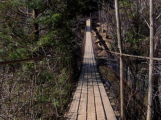 Fall Creek Falls State Park - A swingbridge spans Cane Creek, near the nature center