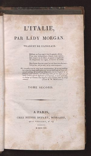 Sydney, Lady Morgan - Italie, t. 2, 1821