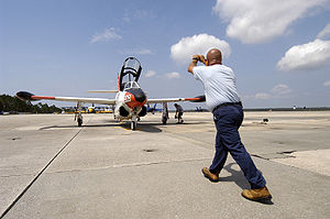 North American T-2 Buckeye - A T-2C being parked at Naval Air Station Pensacola, Florida, on August 30, 2005