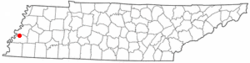 Location of Garland, Tennessee