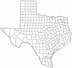 Location of Benavides, Texas