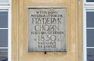 Chopin family parlor - Plaque on Chopin apartment