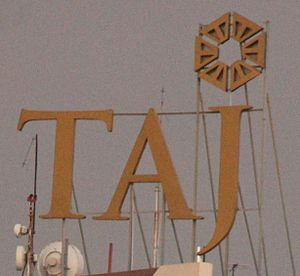 Taj Hotels Resorts and Palaces - Taj Hotel logo displayed on top of Taj Samundra in Colombo
