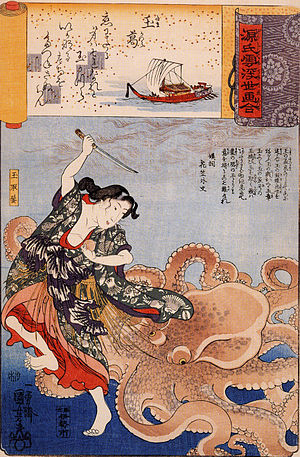 The Dream of the Fisherman's Wife - Woodblock print by Kuniyoshi depicting Tamatori fighting an octopus