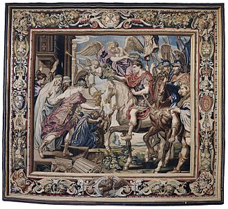 Constantine's Triumphal Entry into Rome, from The History of Constantine, designed by Peter Paul Rubens and Pietro da Cortona, 1622 Tapestry showing Constantine's Triumphal Entry into Rome.jpg