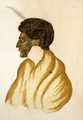 Te Raparaha, chief of the Kawias, watercolour by R. Hall, c. 1840s cropped.png