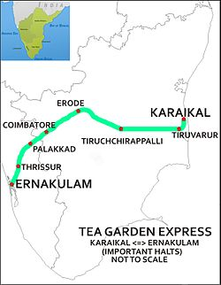 Tea Garden Express (Karaikal-Ernakulam) Route map.jpg