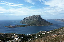 Telendos and the small village Myrties in the foreground, seen from Kalymnos