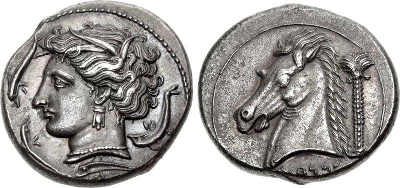 Tetradrachm, 320-300 BC, Punic, Entella