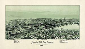 Altoona, Pennsylvania - Altoona in 1895: a Pennsylvania Railroad town. Lithograph by Thaddeus Mortimer Fowler.